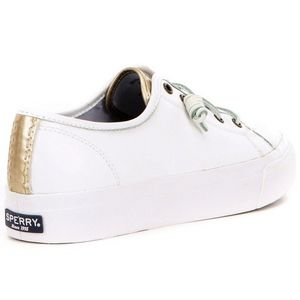 Women Sperry Sky Sail Leather White Gold Platform